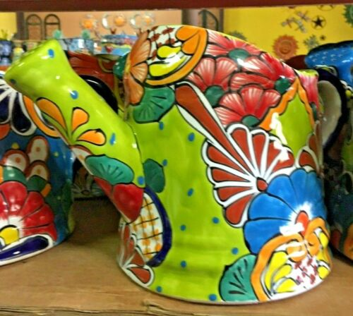 TALAVERA MEXICAN POTTERY - COLORFUL WATERING PITCHER PLANTER   **FREE FREIGHT**