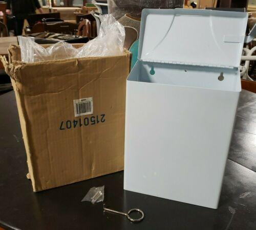 White DROP BOTTOM Sanitary Napkin Tampon Disposal Trash Waste Receptacle can