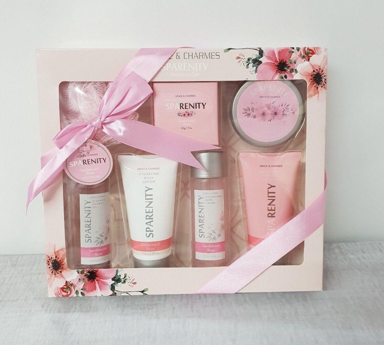 Damen Beauty Set Geschenkset 7tlg Körperpflege Set Sandelholz Rose Wellness