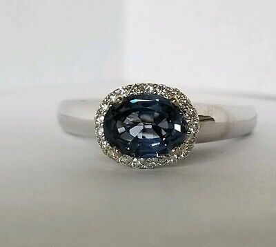 Estate GIA 1.34 TCW 18K Natural Blue Spinel And Diamond Engagement  Ring