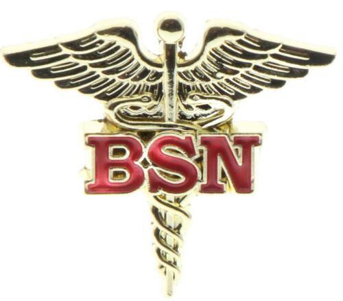 BSN Bachelor of Science Nurse Caduceus Cross Red Gold Tone Hat Pin PMS796 F4D21I