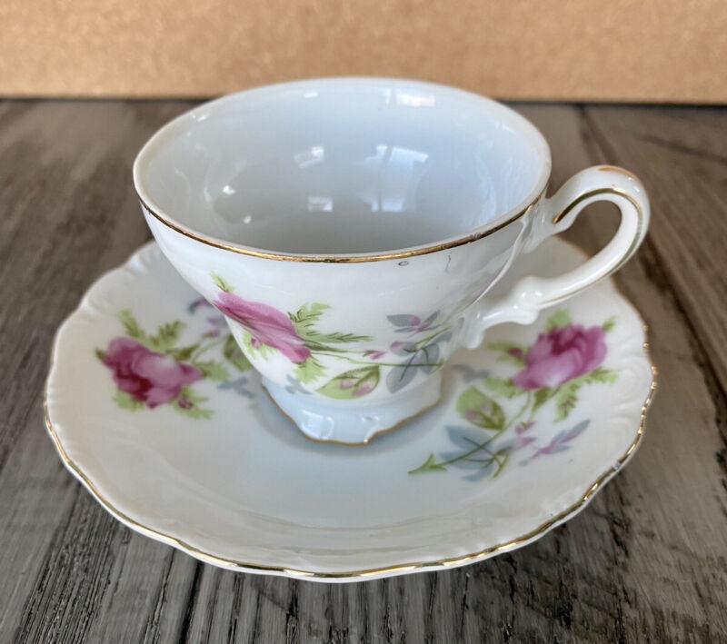 Vintage Floral Tea Cup & Saucer Set Gold Trim Registered Celebrate Made In Japan