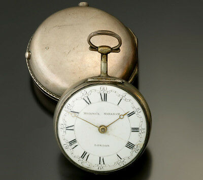 ANTIQUE STERLING SILVER PAIR CASE MARWICK MARKHAM POCKET WATCH CA1760S