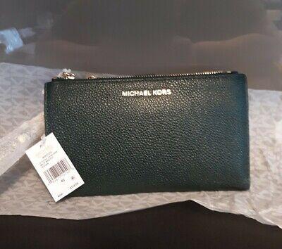 Michael Kors purse&phone dual zip wristlet pebbled leather,RACING GREEN,new tags