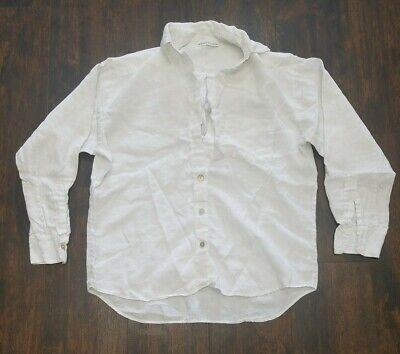 BRYN WALKER Light Linen BOYFRIEND SHIRT small Big Pocket White lagenlook blouse -