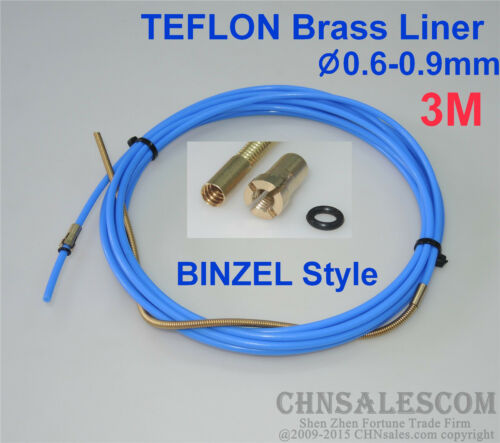 CHNsalescom BINZEL Style PTFE with Brass Liner and Cooper Terminal 0.6-0.9mm Wire 3M 10ft