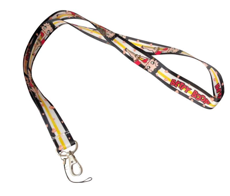 Betty Boop Black Stripe Keychain Holder Lanyard