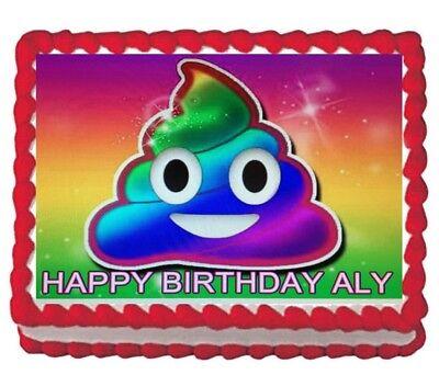 Rainbow Poop Birthday party edible emoji cake topper image 1/4 frosting sheet - Rainbow Poop
