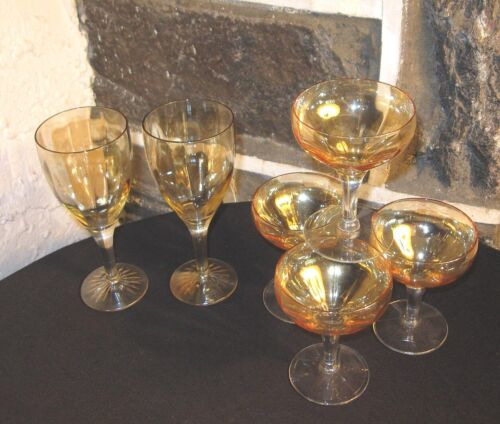 Vintage Stem lot of 6 mixed 2 wine 4 Champagne optic Champagne color FREE SHIP!