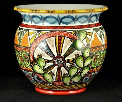 PREGIATO PORTAVASO Sicilia cm30 ceramica di Caltagirone