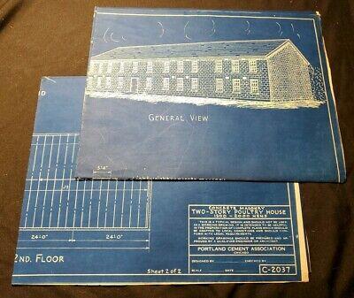 Vintage 1940s Blueprint Concrete Masonry 2 Story Poultry House Portland Cement
