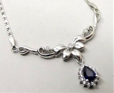 Vtg Platinum Blue Sapphire Diamond Winged Necklace Pendant Estate .18 Carat TCW Blue Sapphire Platinum Necklace