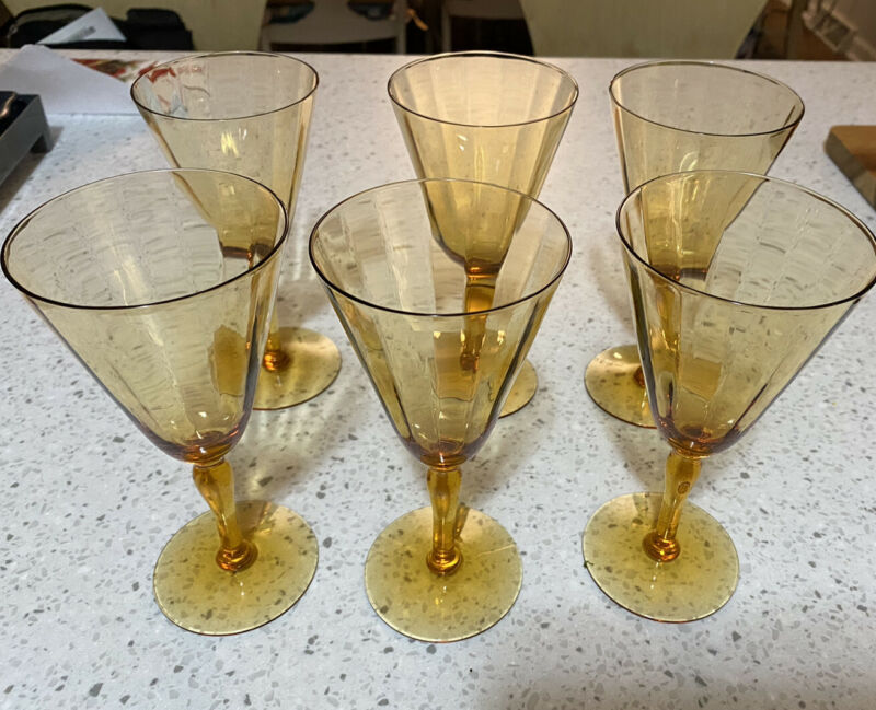 6 Vintage Fostoria Amber Optic Panel 5093 Wine Glass Stemware