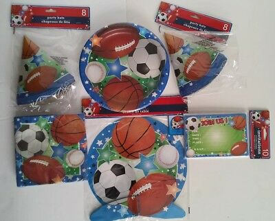 Sports Birthday Party Supplies Set~65pc 10 guests Football Soccer - Soccer Birthday Party Supplies