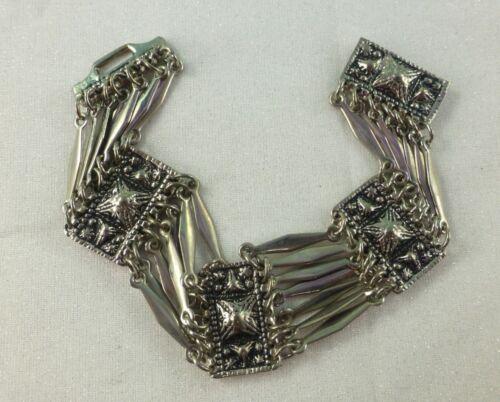 Vintage HECHO EN MEXICO Alpaca Silver Bracelet Multi Panels Wide Ornate Design