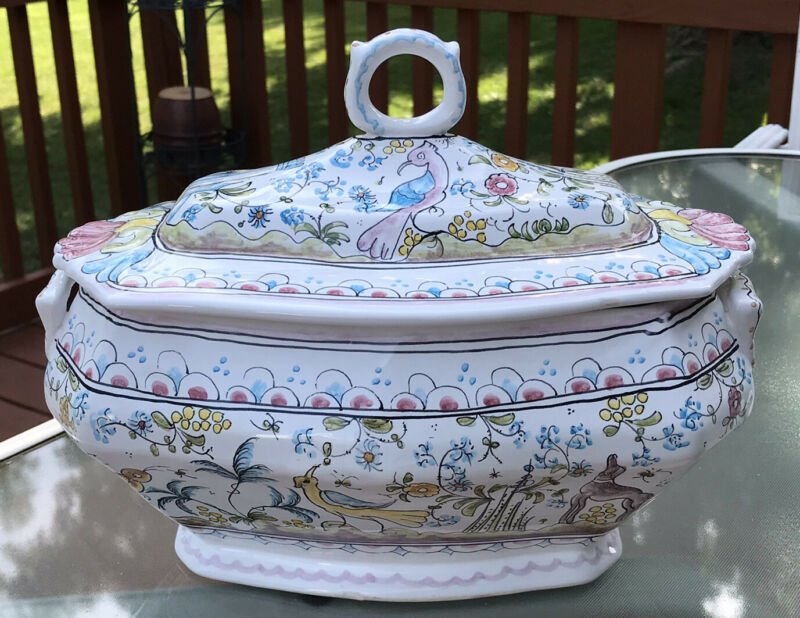Ceramica Coimbra Portugal Hand painted Covered Tureen Server~Castle, bunnies,