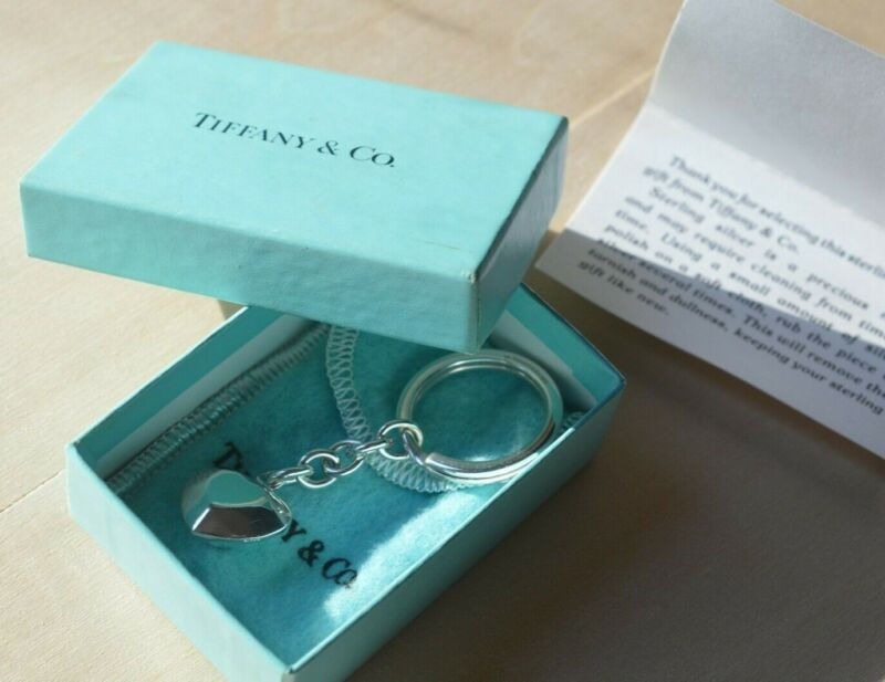 Tiffany & Co Vintage Facet Heart Shape Sterling Silver Key Chain Ring