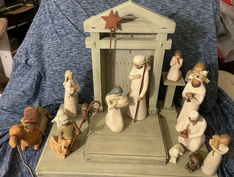 Willow Tree Demdaco 15 Piece Nativity Set By: Susan Lordi-90% Complete W Bonus!