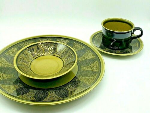 Atomic Onion Taylor Ironstone 4 Pc Place Setting Riviera Green Vtg Mid Century