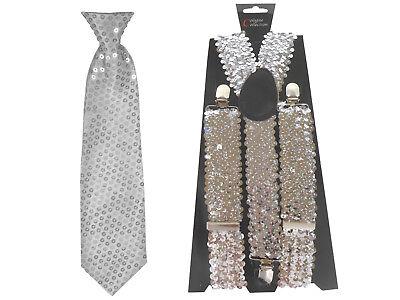 2er Set Pailletten Krawatte + Hosenträger silber Kostüm - Pailletten Hosen Kostüm