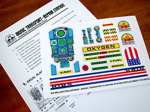 SIX MILLION DOLLAR MAN BIONIC TRANSPORT & REPAIR STATION REPLACEMENT DECALS