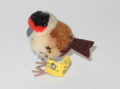 Steiff Wollminiatur Vogel mit Knopf und Fahne  4cm