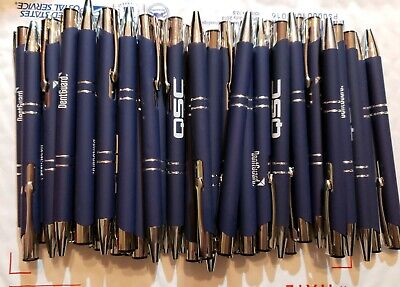 50 Piece Misprint Pen Lot Bulk Metal Soft Grip Click Pen Dark Blue Black Ink