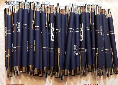 50 Piece Misprint Pen Lot Bulk Metal Soft Grip Click Pen Dark Blue Black Ink