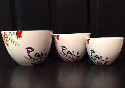 Set Of 3 CIROA Quality Porcelain NESTING BOWLS Birds & Flowers LILA Pattern GUC