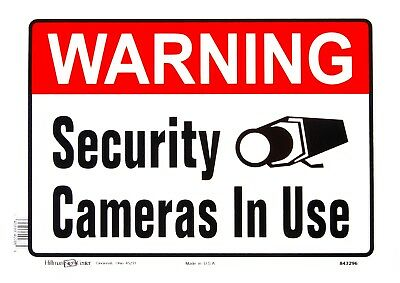Warning Security Cameras In Use Metal Sign Video Security Camera Hillman 843296