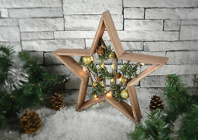 Nordic Christmas Wooden Star Christmas Decorations Battery Powered Led Lights](Wooden Halloween Decorations Uk)