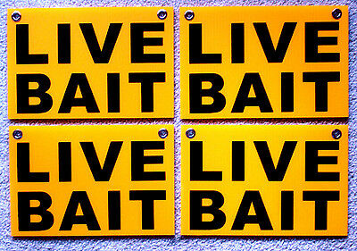 4 Live Bait Coroplast Signs With Grommets 8x12 Free Shipping