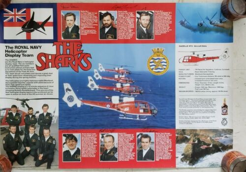 THE SHARKS ROYAL NAVY HELICOPTER POSTER DISPLAY TEAM SIGNED VINTAGE PUSSERS RUM