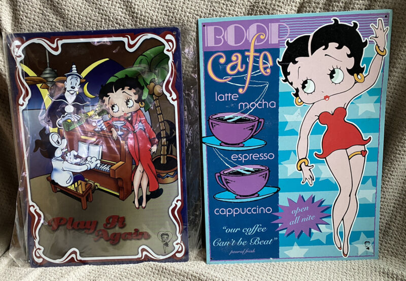 lot of 2 Betty Boop metal signs: Play it Again & Boop Cafe