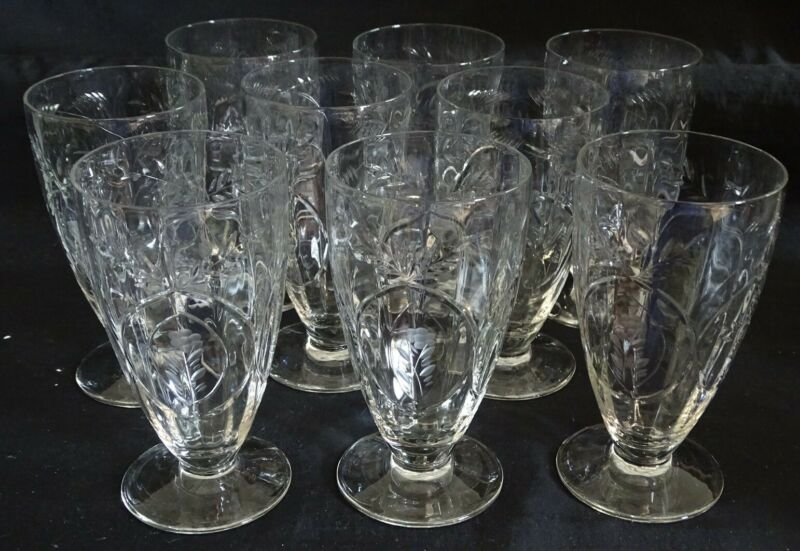 Set of 9 Cut & Etched Footed Ice Tea Tumblers - Floral 5 5/8""