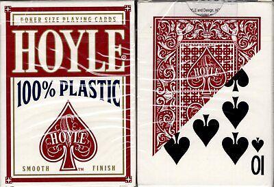 Hoyle 100% Plastic Red Deck Playing Cards Poker Size USPCC Smooth Finish Sealed Hoyle Poker Deck