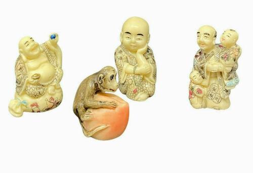 Vintage Netsuke 4 Resin Asian Figurines  Monkey On Peach Buddhist Budda