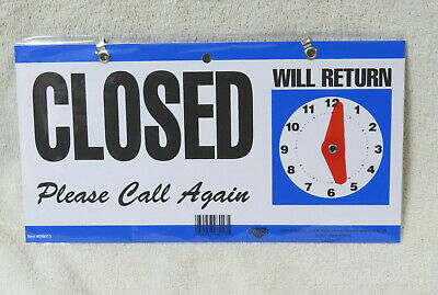 New Double-sided Openclosedwill Return Sign Wclock Hands 6 Inch X 11.5 Inch