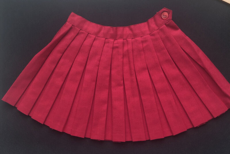 VINTAGE 1950's Red Toddler Child Skirt Pleated Buttoned Waistband Unlined