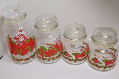 VINTAGE SET OF 4 STRAWBERRY SHORTCAKE GLASS CANISTERS 1980