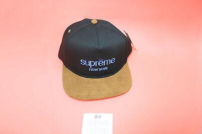 fab920d1cf17a Supreme Classic Logo Suede Visor 5 Panel Black Hat Cap FW15