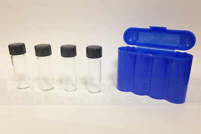 Vial Carrying Case Holder Protector With 4 1 Ozt Gold Vials Storage Vault Blue