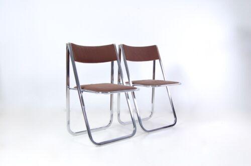Sedie Pieghevoli Di Design.Dettagli Su Coppia Sedie Pieghevoli Design Anni 70 Acciaio E Velluto Bonaldo