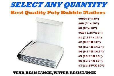 Poly Bubble Mailers Shipping Mailing Padded Bags Envelopes Self-seal White Size