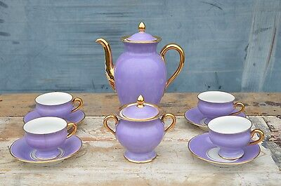 THOMAS Bavaria Purple Gold Coffee Pot Set Porcelain Cups Saucers Sugar Bowl