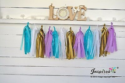 DIY Tissue Paper Tassel Garland Birthday Wedding Turquoise White Lilac Gold
