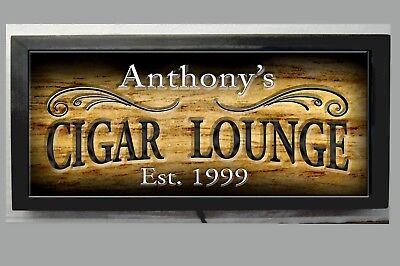 LED LIGHTED CIGAR LOUNGE BAR SIGN PERSONALIZED ENGRAVED WOOD LOOK REMOTE CONTRL Lounge Wood Sign