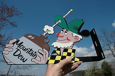 OLD STYLE MOUNTAIN DEW HILLBILLY DIECUT SODA DRINK COLA FLANGE SIGN MADE IN USA