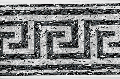 GREY, BLACK AND WHITE GREEK KEY WALLPAPER BORDER