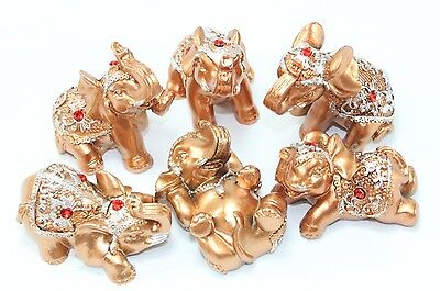 Set of 6 Gold Lucky Elephants Statues Feng Shui Figurine Home Decor Gift